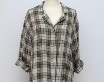 Plaid Oversize Shirt, Women's shirt, 1990s Shirt, Grunge Shirt