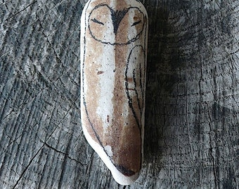 Large Beach Pottery Owl - Totem, Animal Medicine, Spirit Animal