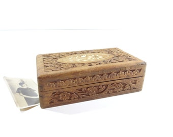 Vintage Wood Jewelry Box, Carved Wood Jewelry Box