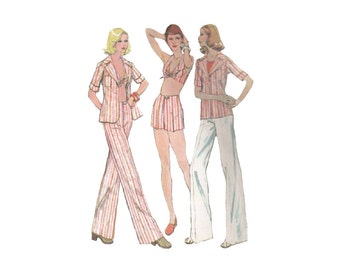 SALE! Halter Top Pattern with Shirt and High Waist Shorts or Pants Bust 36 McCalls 4052 Summer Beachwear Vintage 1970s Sewing Pattern