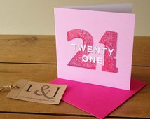 21st birthday card - pink - age 21 birthday - sister birthday - birthday girl card for her - 21st birthday gift - girls 21st - greeting card