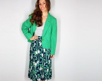 Floral Skirt and Blazer, Pendleton, Small, Medium, Green Blazer, Water Lily Print, High Waist Skirt, 2 piece set Country Sophisticates