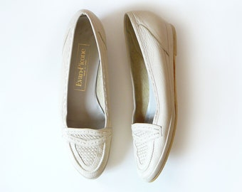80's Evan Picone Cream Woven Leather Wedge Loafer Shoes - Size 7 N