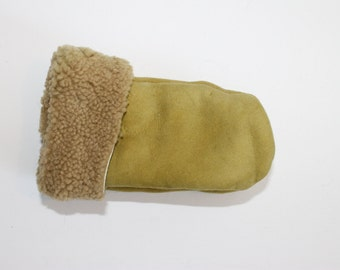Light green childrens sheepskin mittens