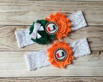 Miami Hurricanes inspired wedding garter University of Miami