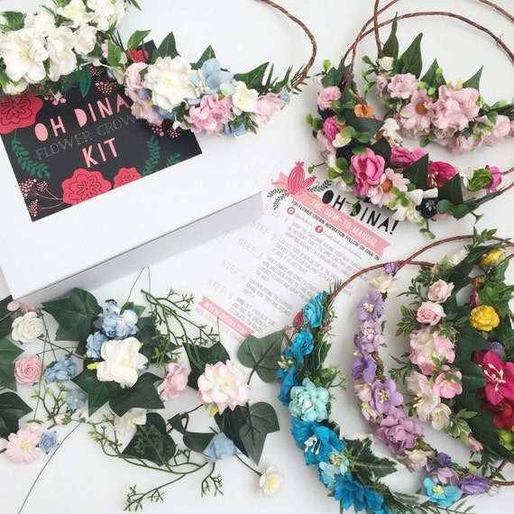 Bachelorette Party DIY Flower Crown Kits Set Of 10