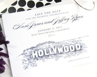 Hollywood Sign Skyline Save the Dates (set of 25 cards)