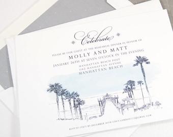 Manhattan Beach Skyline Rehearsal Dinner Invitations (set of 25 cards)