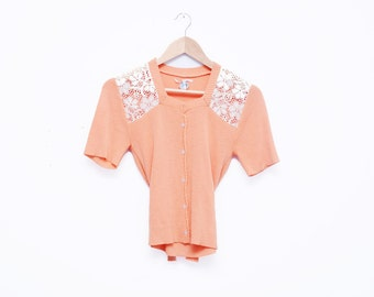 Vintage 1970s Peach Lace Top