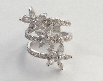 Sterling Silver Cz Cubic Zirconium Flower Design Ring