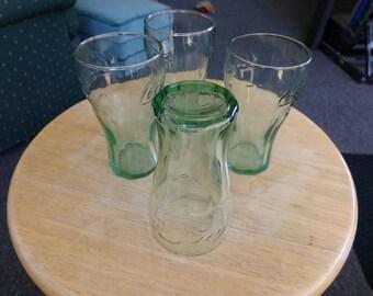 Mini Coke Coca Cola Green Glass, Coca Cola Juice glasses, juice glasses, kid glasses, Coke Advertising, Retro kitchen décor, retro serving
