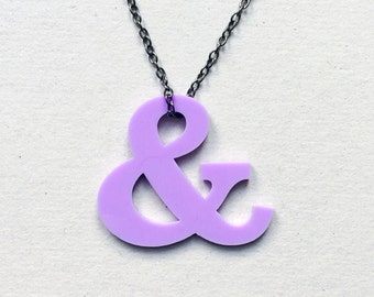 Lilac acrylic ampersand necklace