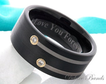 Tungsten Band,Tungsten Ring,Mens Ring,Anniversary Ring,Promise Ring,Diamond Band,Black Ring,Engagement Ring,Custom Made,Black,9mm,His,Hers