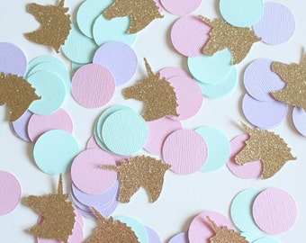 Gold Glitter, Unicorn Pink, Purple, Mint  1' Circle Confetti / 100 Count/ Party Decor /Birthday/ Princess Party/ Baby Shower/Table Confetti