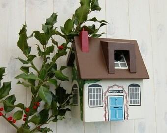 Personalised Bird House Cottage Bird Box, Cottage Gift Garden Gift