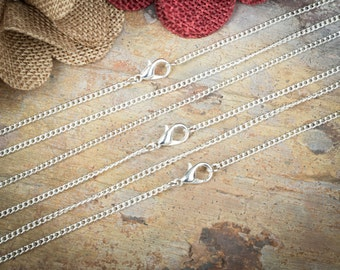 10 Silver Plated Necklaces / Petite Curb Chain 2.0mm link / Lobster Clasp / 18 20 24 Inch / Bulk Necklace DIY / ZF358-10