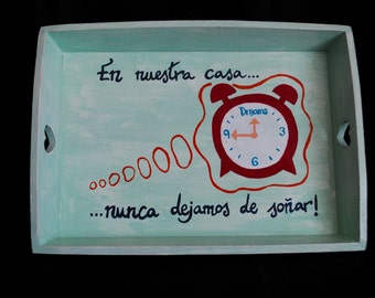 Tray with special message