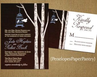 Rustic Love Bird Wedding Invitation,Love Birds,Bird Cage,Birch Trees,Simple,Elegant,Romantic,Custom,Printed Invitation,Wedding Set,Opt RSVP