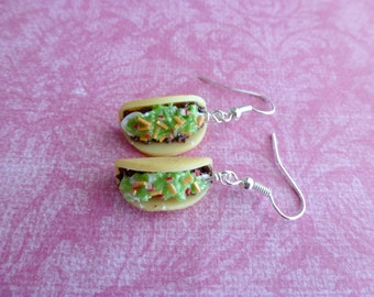 Taco Earrings Miniature Food Jewelry Gifts for Her Polymer Clay Taco Earrings