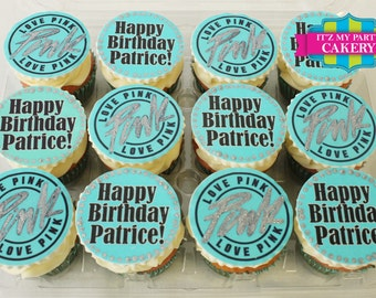 Teal Love Pink Cupcake Toppers (1 Dozen)