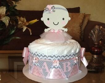Ballerina diaper cake/Ballerina baby shower centerpiece/Baby girl diaper cake/Girl baby shower centerpiece