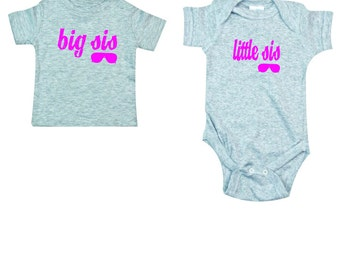 Big sis little sis matching sibling apparel makes a great baby shower gift