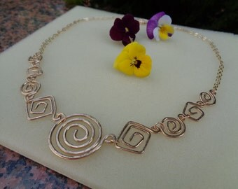 Gold chain, 585 silver, necklace with spirals in ethno-design, unique!