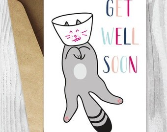 Get Well Cards, Funny Cat Get Well Printable Cards, Get Well Soon Cat Card, Instant Download, Funny Cat Cards, Feel Better Cat Cards