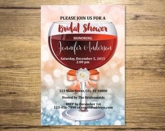 Bridal Shower Invitation, Wine Glass, Wine Tasting Bridal Shower Invitations, Pink And Blue Bokeh Bridal Shower Invite, Digital or Printed