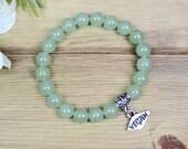 Womens Vegan Bracelet with Green Aventurine for Healing the Heart Chakra - Vegan Gift Veggie Gifts Animal Rights Yoga Jewelry Boho Bracelet