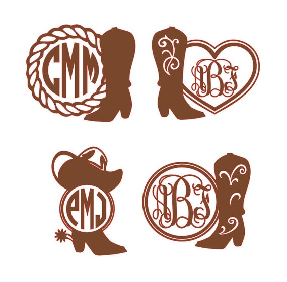 Cowgirl Boot Monogram Vinyl Decal Country Girl Monogram Car - Country custom vinyl decals for trucks