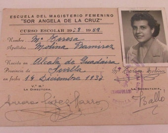 Vintage 1950s Spanish Student Card with Photograph - Seville