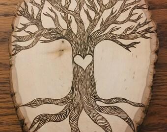 Customizeable Woodburned Tree Wedding Wood Slice