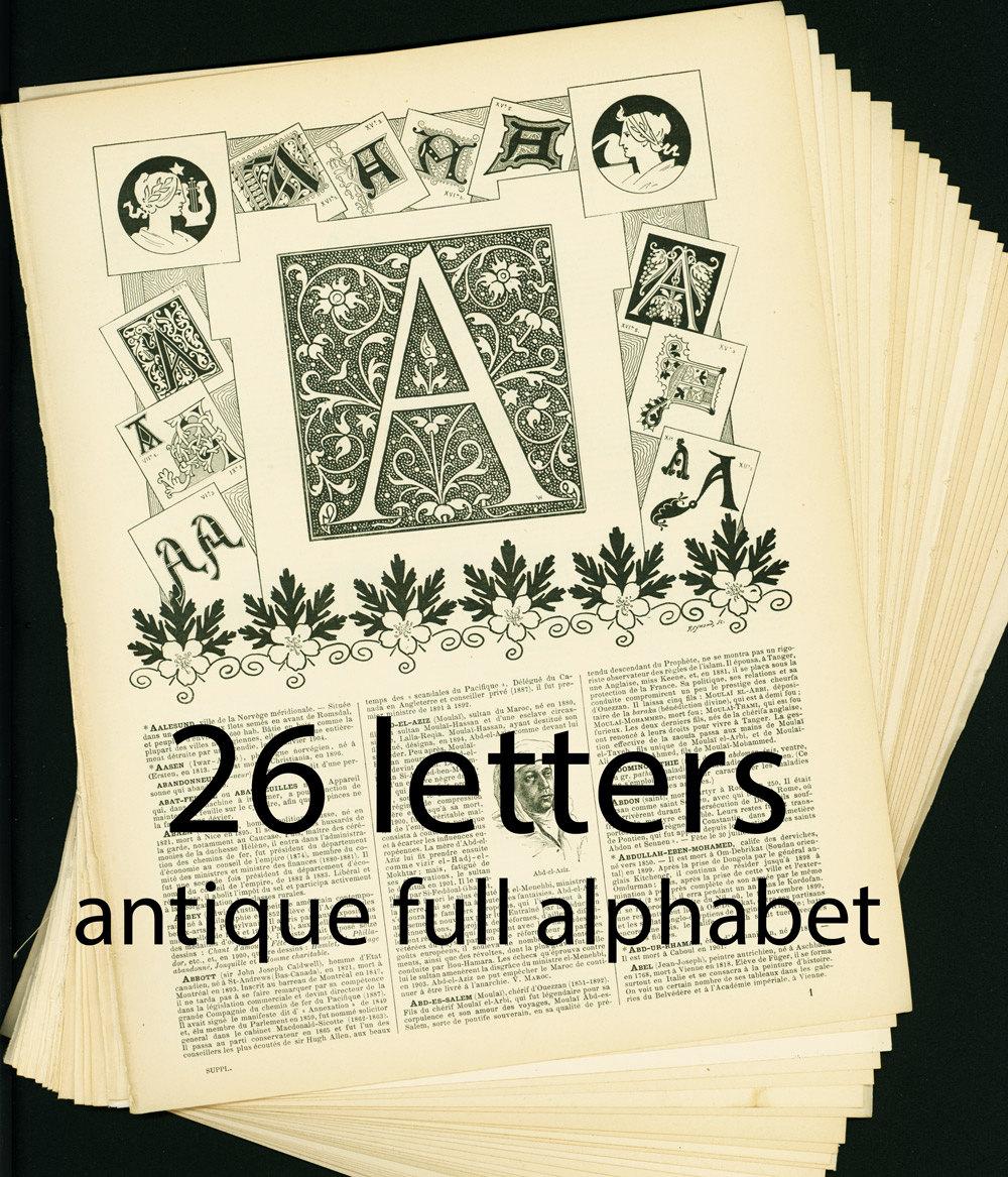 1897 alphabet complet 26 lettres ancienne police de - Alphabet complet ...