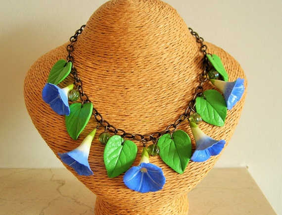 1930s Costume Jewelry 1930s Morning Glory necklace 30s 40s inspired Ipomoea necklace blue flower necklace. $44.70 AT vintagedancer.com