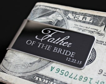 Father of the Bride - Money Clip - Business Card Holder - Stainless Steel