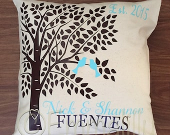Custom 18x18 throw pillow cover for newlyweds