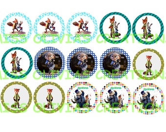 Zootopia Bottle Cap Images (Instant download) Set of 15~Print Your Own