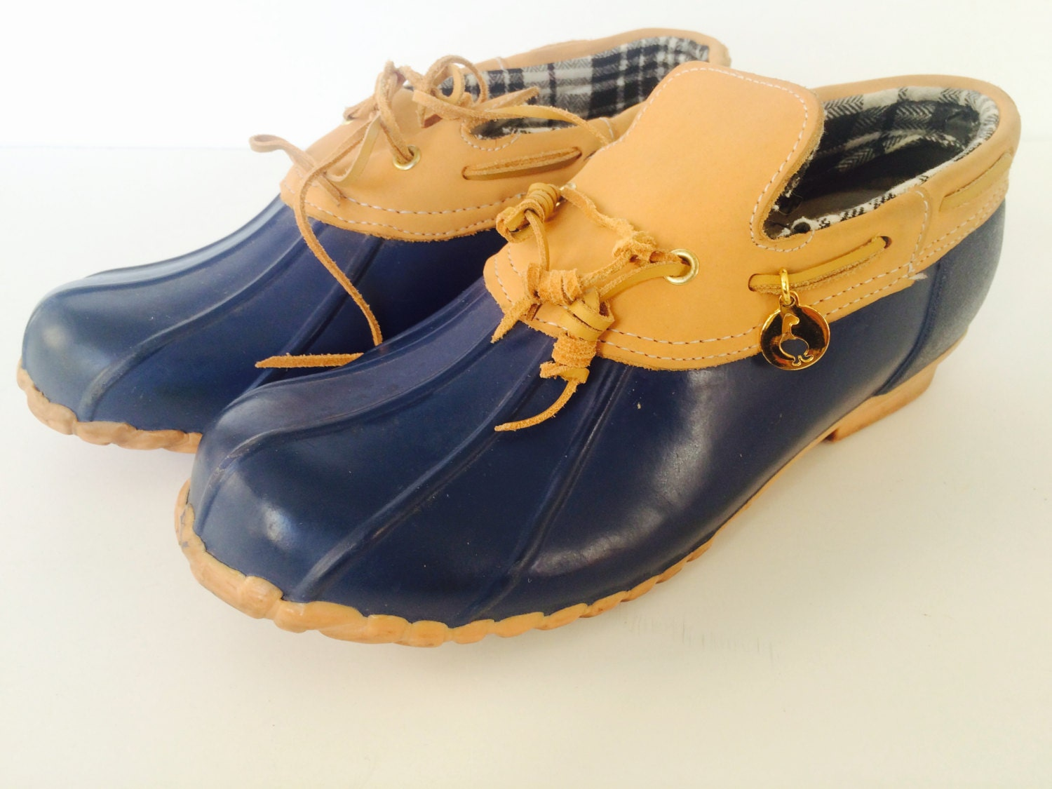 vintage sporto duck shoes boots blue rubber with brown