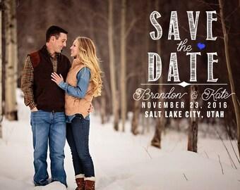 Save-the-Date Announcement, Custom Wedding Photo Card Printable \\ Chalkboard