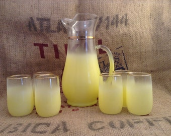 Beautiful Vintage Frosted Glass Yellow Pitcher and Juice Glasses Coctail
