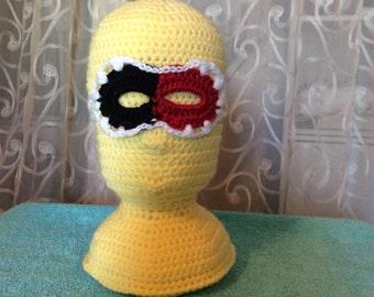 Harlequin Mask, Hand Crocheted for size Toddler / Child