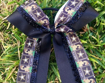 US Army Hair Bows/ US Army bows/Black softball bows/Black cheer bows