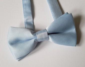 Light Blue Satin Bow tie, Pre-tied bow tie, Double Bow tie, Wedding Bow tie