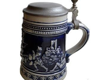 Gerzit beer mug - RARE blue stoneware pewter beer tankard stein