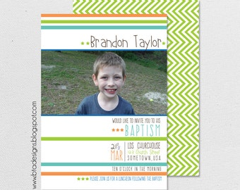 Baptism Invitation, Baptism Announcement for Girls or Boys 3, Customized, Digital File