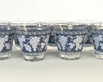 Hazel Atlas Lowball Glasses Blue White Grapes Leaves Vintage Rocks Glasses - Set of 8