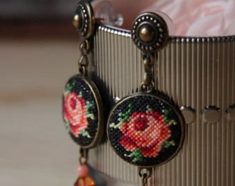 Flower embroidered earrings/rustic earrings with roses/textile dangle earrings/victorian rose romantic cross stitch earrings/folk jewelry