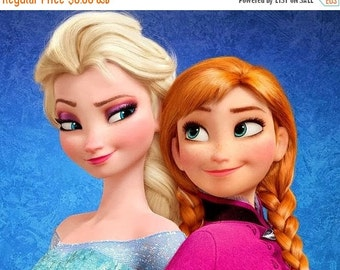 "ON SALE Counted Cross Stitch Patterns -  Anna and Elsa  - 16.93"" x 12.86"" - L322"