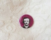 Edgar Allan Poe glittery pinback button // 38mm diameter